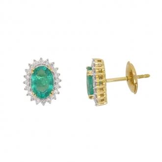 Boucles d'oreilles CARADOR or jaune 750/000 diamant et emeraude