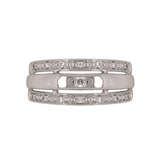 Bague Carador large triple anneaux en or blanc 750/000 et diamants