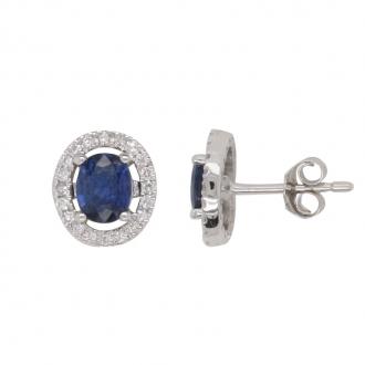 Boucles d'oreilles CARADOR or blanc 750/000 multiple diamants et saphir.