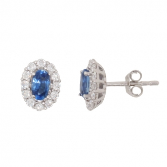 Boucles d'oreilles CARADOR or blanc 750/000 saphir et diamants