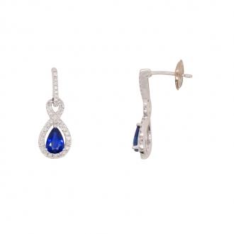Boucles d'oreilles pendantes CARADOR or blanc 750/000 saphir et diamants