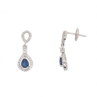 Boucles d'oreilles pendantes goutte CARADOR or blanc 750/000 saphir et diamants