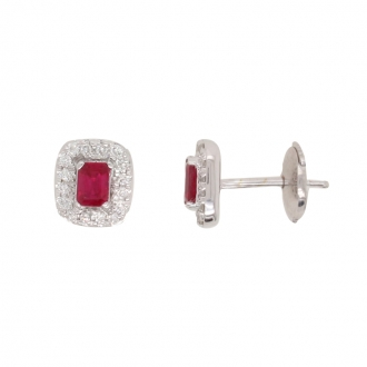 Boucles d'oreilles clou CARADOR or blanc 750/000 multiple diamants et rubis