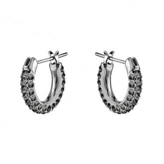 Boucles d'oreilles Swarovski Stone mini, métal rhodié, cristaux noirs 5446023