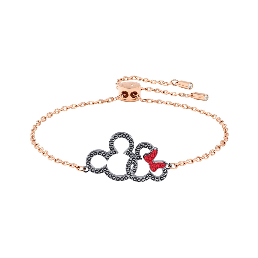 5435138 MinnieMétal Or Swarovski Mickeyamp; Rose Plaqué Pour Bracelet Ibyf76vYg