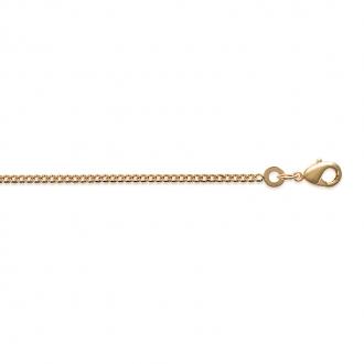 Collier chaine Femme Carador maille forçat écrasée en plaqué or, longueur 50 cm