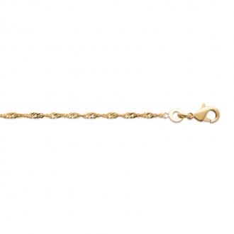 Collier chaine Femme Carador maille forçat torsadée en plaqué or, longueur 45 cm