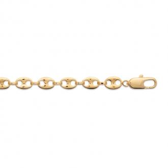 Collier chaine Carador maille grain de café plaqué or, longueur 50 cm
