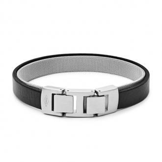 Bracelet double Fossil en cuir et acier JF03119040