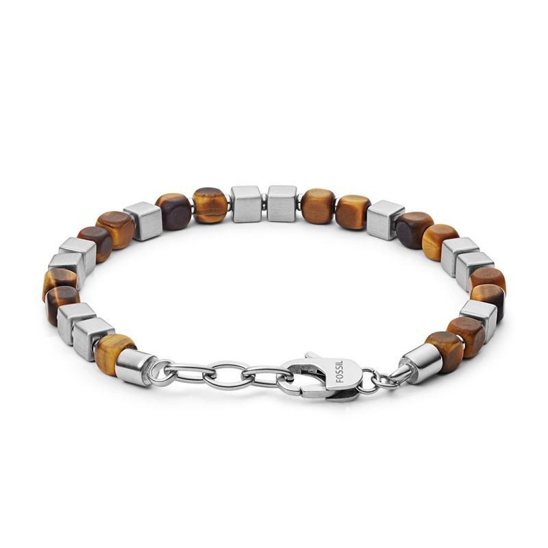 Bracelet homme Fossil perles oeil de tigre et acier JF03132040