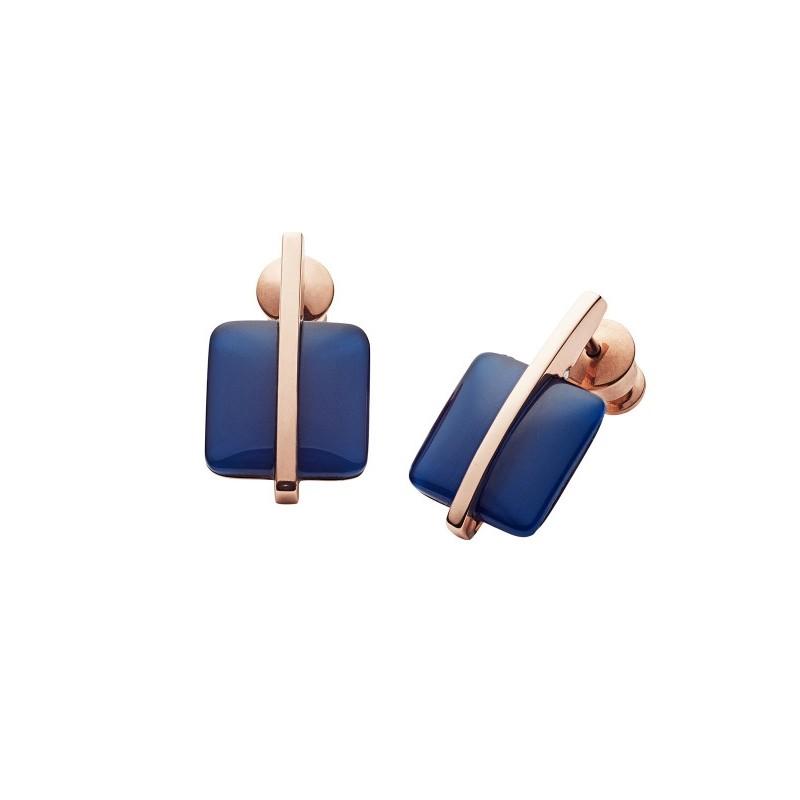 Boucles d'oreilles Skagen Sea Glass bouton carré Bleu SKJ1136791