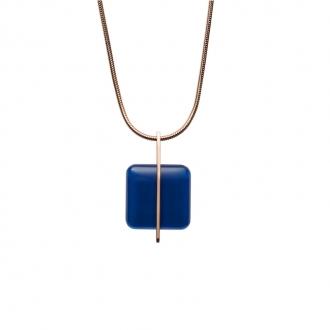 collier Skagen Sea Glass pendentif carré Bleu SKJ1134791