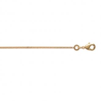 Chaine Carador maille gourmette diamantée 1 mm en plaqué or, longueur 45 cm