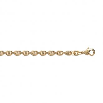 Bracelet chaine Carador maille grain de café plaqué or, longueur 18 cm