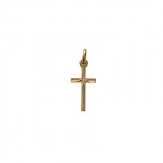 Pendentif Carador croix avec rosace ciselée en plaqué or