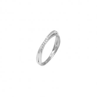Alliance Carador anneaux croisés or blanc 750/000 et oxydes de zirconium