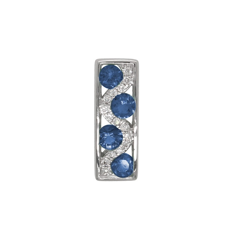 Pendentif Carador rectangulaire en or blanc 750/000, saphirs et diamants