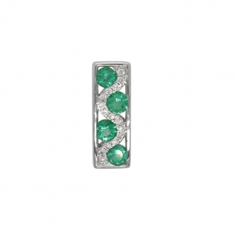 Pendentif Carador rectangulaire en or blanc 750/000, émeraudes et diamants