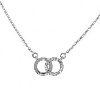 Collier Femme Carador anneaux enlacés en or blanc 750/000 et diamants