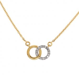 Collier Femme Carador anneaux enlacés en or bicolore 750/000 et diamants