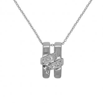 Collier Femme Carador pendentif H en or blanc 750/000 et diamants