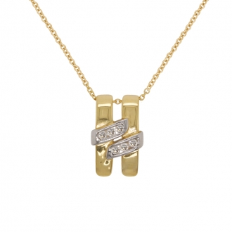 Collier Femme Carador pendentif H en or jaune et blanc750/000 et diamants