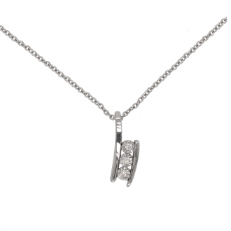 Collier Femme Carador Trilogie de diamants en or blanc 750/000
