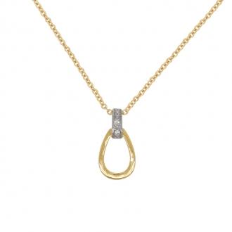 Collier Femme Carador pendentif poire en or bicolore 750/000 et diamants