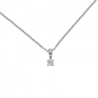 Collier Femme Carador solitaire diamant 0,1 cts en or blanc 750/000