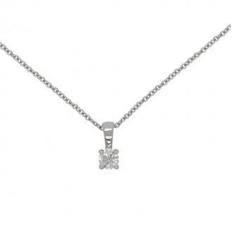 Collier Femme Carador solitaire diamant 0,2 cts en or blanc 750/000
