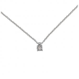 Collier Femme Carador solitaire diamant 0,03 cts en or blanc 750/000