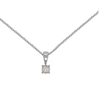 Collier Femme Carador solitaire diamant 0,07 cts en or blanc 750/000