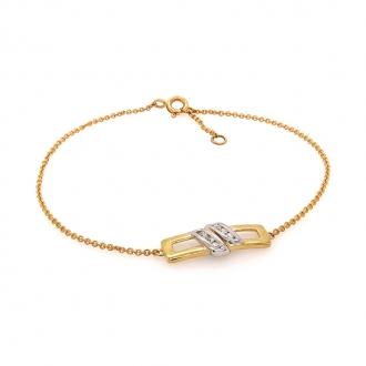 Bracelet Femme Carador motif rectangulaire diamants 0,11 cts et or jaune et blanc 750/000
