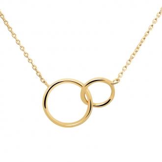 Collier femme Carador anneaux enlacés plaqué or