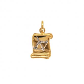 Médaille Sagitaire Carador en or jaune et blanc 750/000