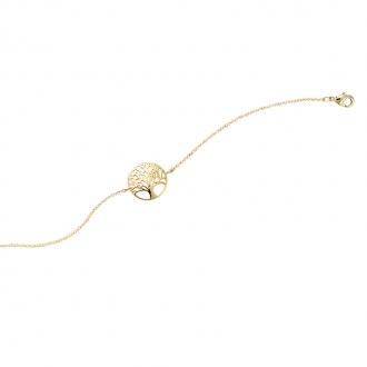 Bracelet souple Carador Arbre de vie en plaqué or