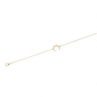 Bracelet souple Carador Lune martelée en plaqué or