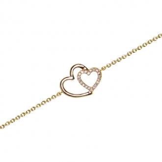 Bracelet souple Carador coeurs enlacés en plaqué or et oxydes de zirconium