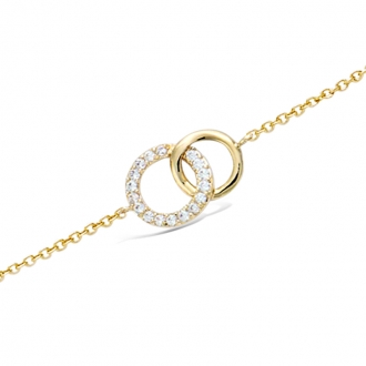 Bracelet souple Carador cercles enlacés en plaqué or et oxydes de zirconium