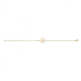 Bracelet souple Carador pastille avec étoile en plaqué or et oxydes de zirconium