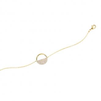 Bracelet souple Carador rond ajouré semi pavage en plaqué or et oxydes de zirconium