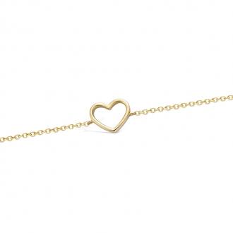 Bracelet souple Carador coeur évidé en plaqué or
