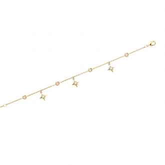 Bracelet souple Carador pampilles étoilées en plaqué or et oxydes de zirconium