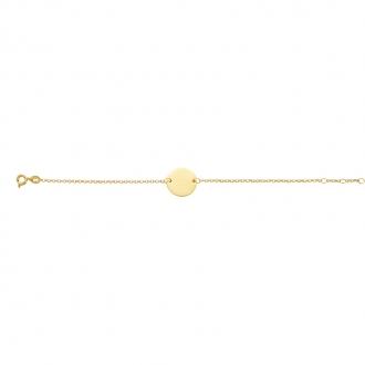 Bracelet souple Carador plaque ronde en plaqué or