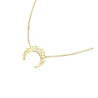 Collier Carador croissant de lune martelé en plaqué or