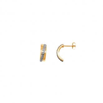 Boucles d'oreilles Carador demi-créoles or jaune 375/000 et diamants