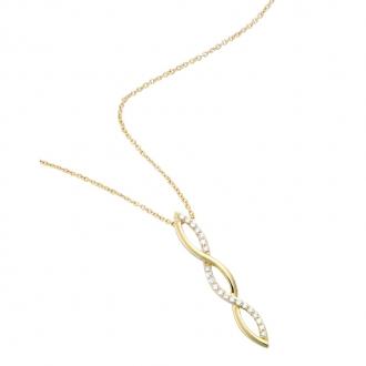 Collier Carador pendentif tresse en plaqué or et oxydes de zirconium