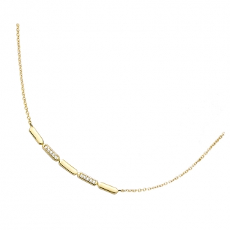 Collier Carador barrette en plaqué or et oxydes de zirconium