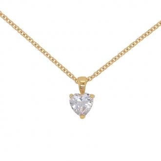 Collier Carador solitaire forme coeur en plaqué or et oxydes de zirconium