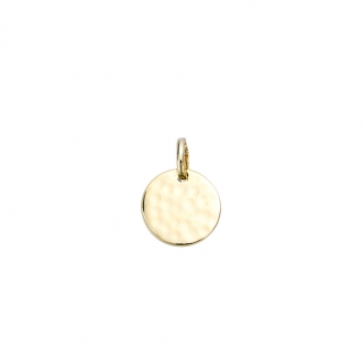 Pendentif Carador plaque ronde martelée en plaqué or